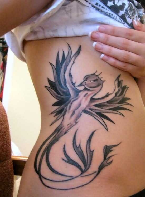 Grey Phoenix Tattoo On Side For Young Girls