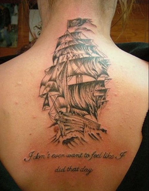 Grey Pirate Ship Tattoo For Girls And Women