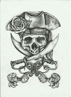 Grey Pirate Skull And Heart Lock Tattoo Designs