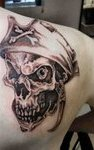 Grey Pirate Skull Tattoo Behind Right Shoulder