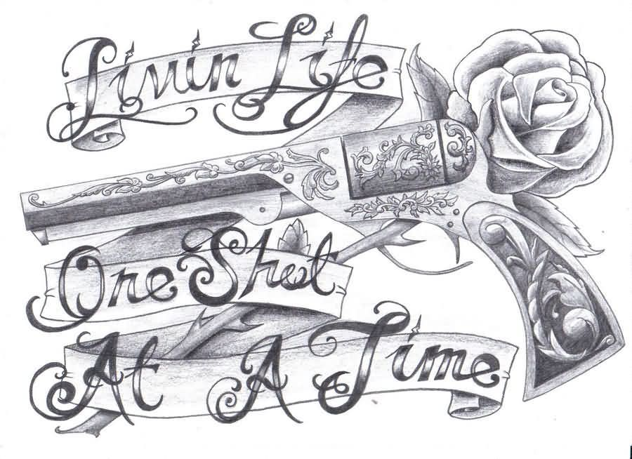 Grey Pistol And Rose Tattoos Design