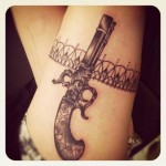 Grey Pistol Lace Band Tattoo
