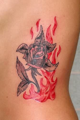 Grey Rose And Tribal Red Flames Tattoos
