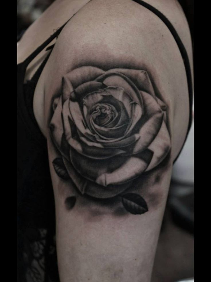Grey Rose Portrait Tattoo On Biceps