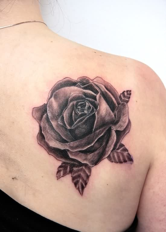 Grey Rose Tattoo Behind The Right Shoulder
