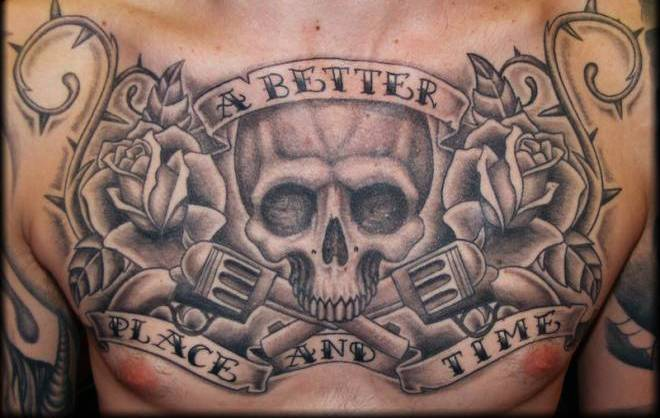 Grey Rose Vine Skull And Pistol Tattoos On Entire Chest