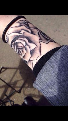Grey Rose Wrist Band Tattoos