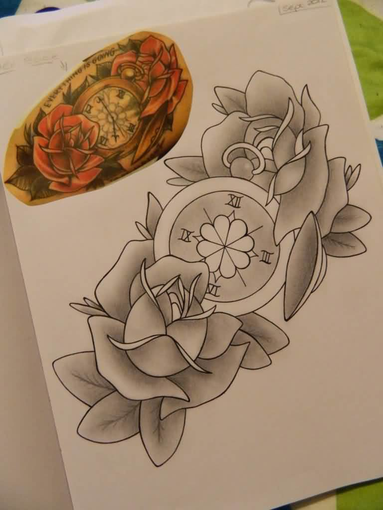 Grey Roses And Compass Tattoos Page