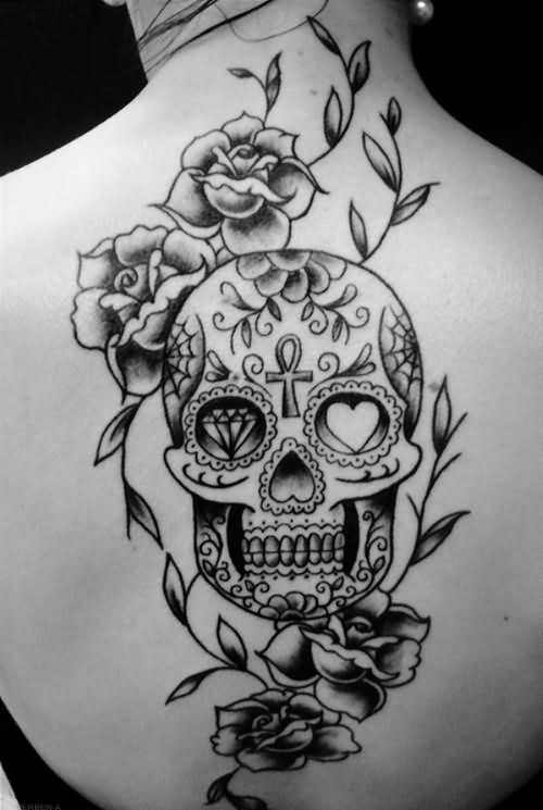 Grey Roses And Sugar Skull Tattoos