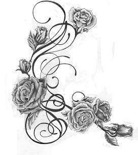Grey Roses And Swirls Tattoos Design