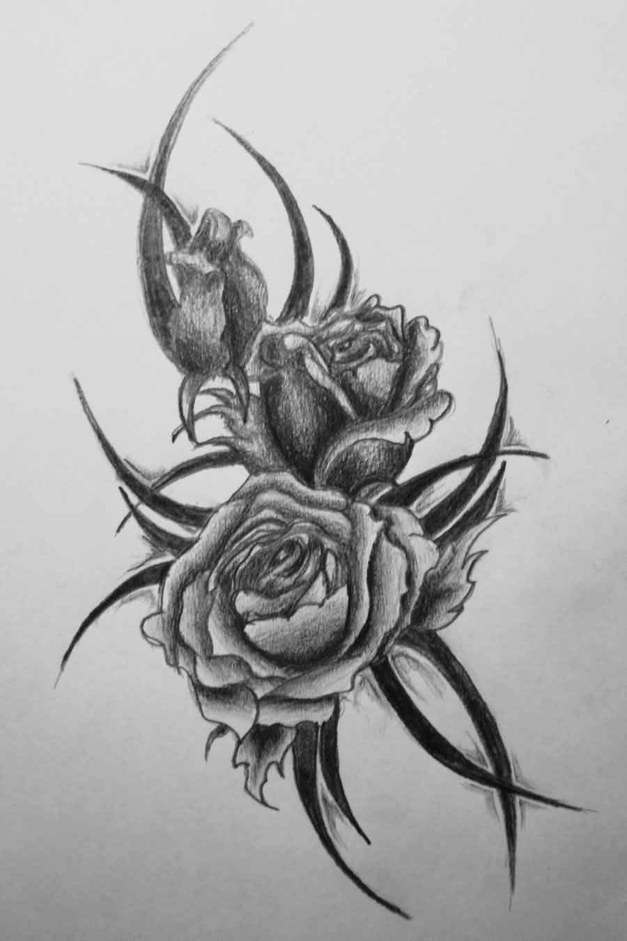 Tribal-Tattoos grey-roses-and-tribal-tattoos-design