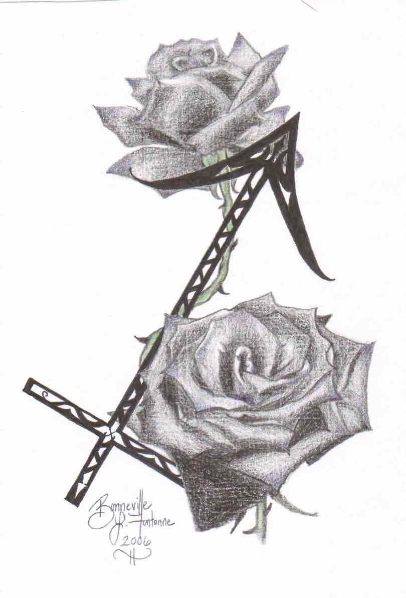 Grey Roses And Zodiac Sagittarius Tattoos