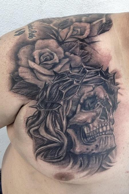 Grey Roses Skull With Crown Of Thorns Tattoos On Chest