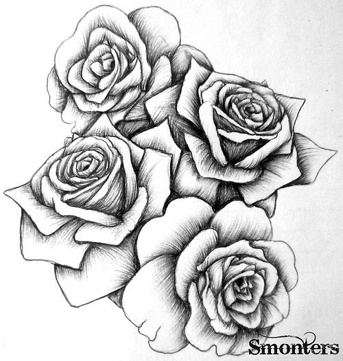 Grey Roses Tattoos Design