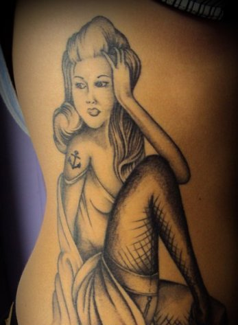 Grey Sitting Sailor Pin Up Girl Tattoo On Side