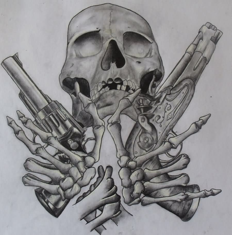 Grey Skeleton With Pistols Tattoo Design