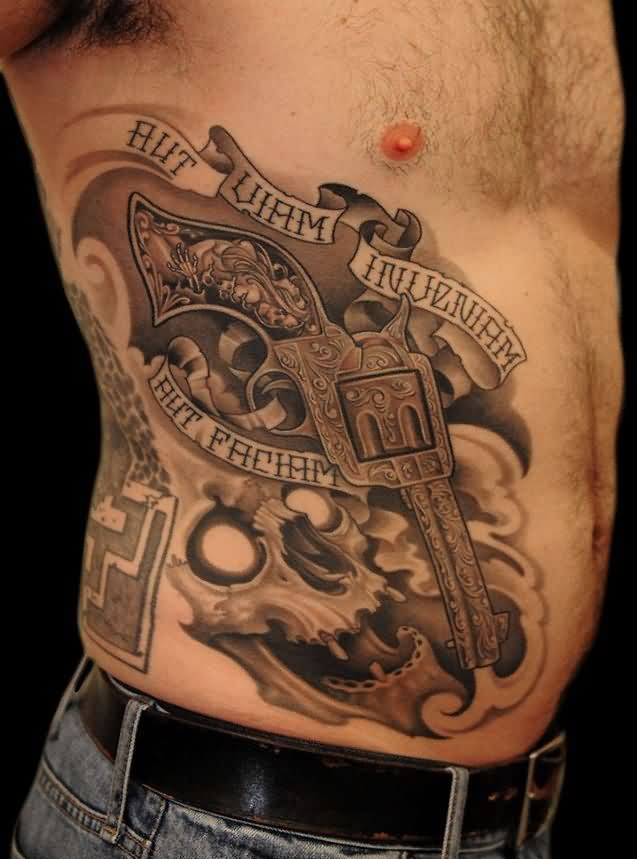 Grey Skull And Designer Gun Tattoos On Right Side