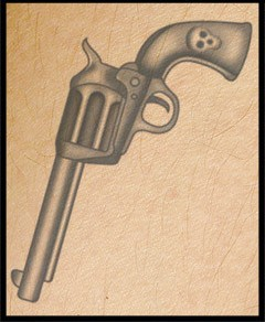 Grey Skull Pistol Tattoo Poster