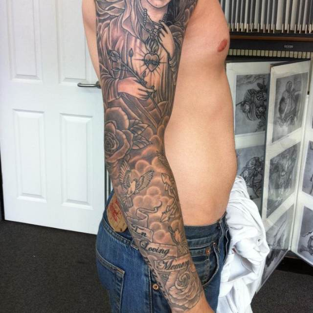 Grey Tattoos On Right Whole Sleeve
