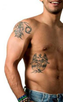 Grey Tattoos On Shoulder And Right Side For Men