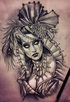 Grey Weeping Lady Tattoo Design