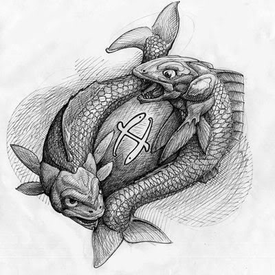 Grey Zodiac Pisces Tattoos Sketch