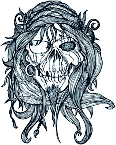 Gritty Pirate Skull Temporary Tattoo