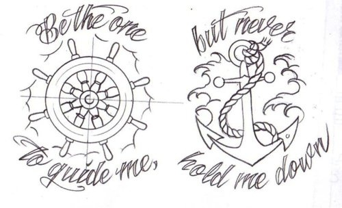 Guide Me Nautical Outline Tattoo Designs