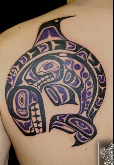 Haida Native American Back Shoulder Tattoo