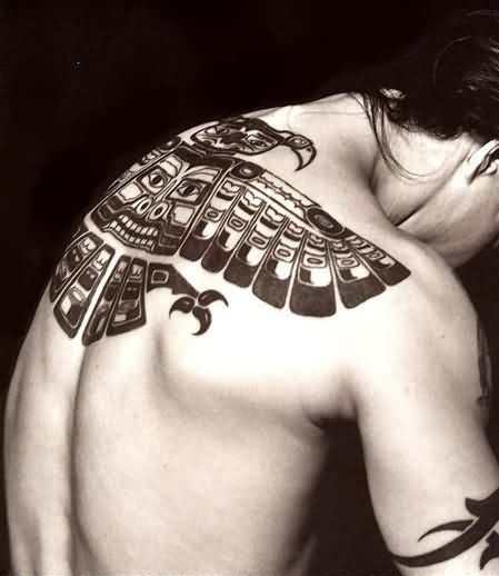 Haida Native American Tattoo On Upperback
