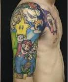 Half Sleeve And Chest Video Game Tattoos