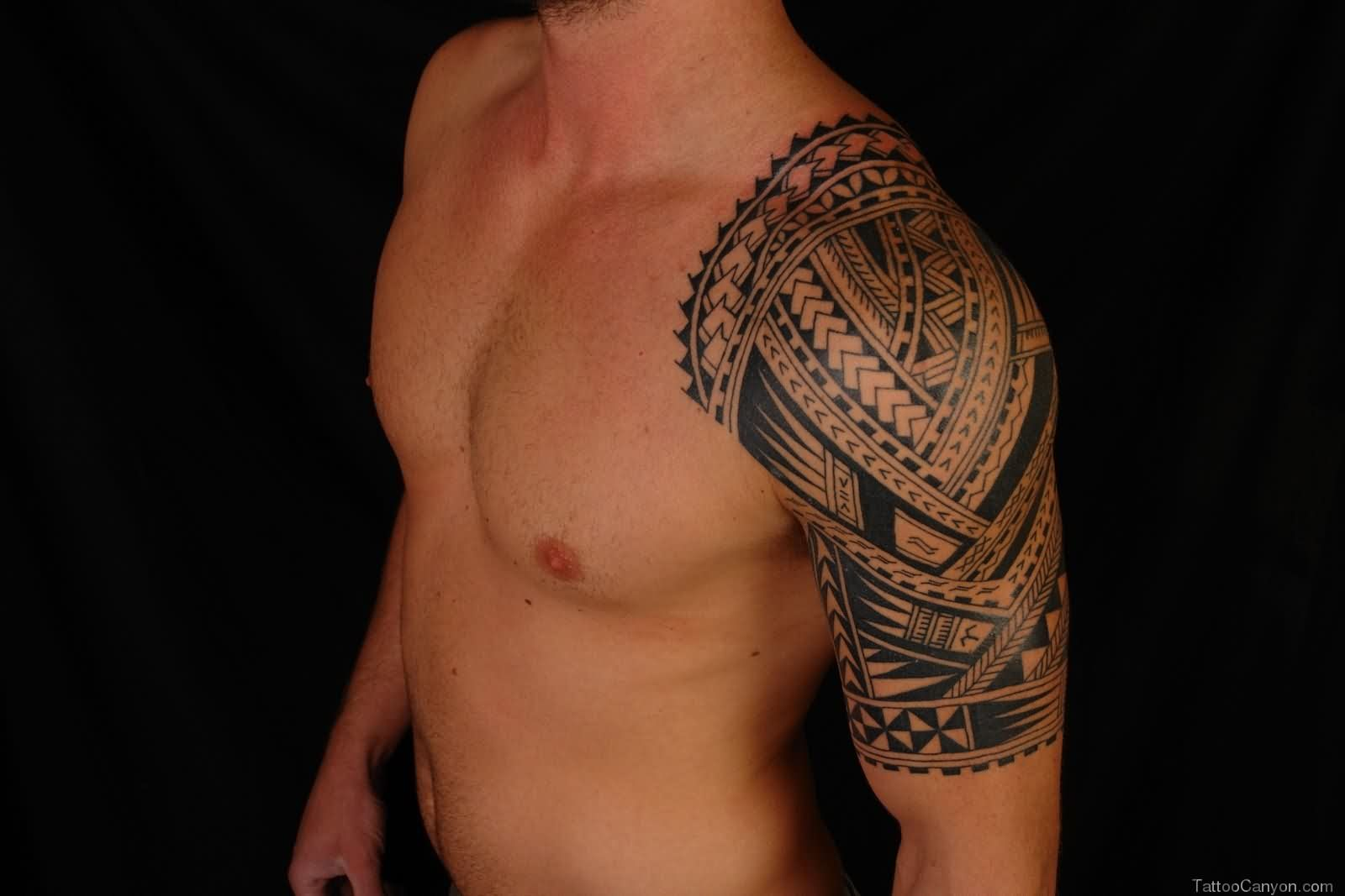Half Sleeve Of Maori Tribal Tattoo