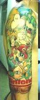 Half Sleeve Of Nintendo Video Game Tattoos