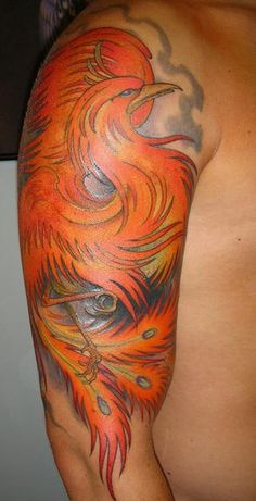 Half Sleeve Of Phoenix Tattoo For Men