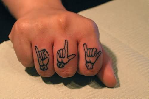 Hand Poses Tattoos On Fingers