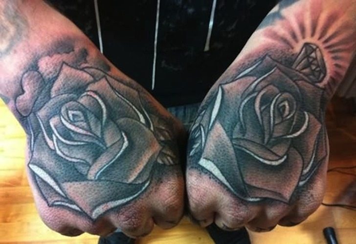 Heart And Diamond Roses Tattoos On Hands