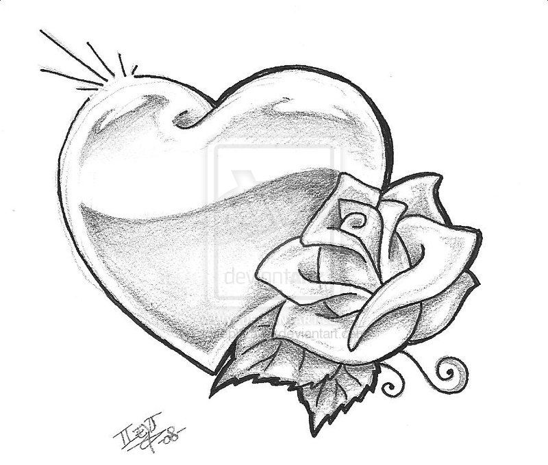 Heart And Grey Rose Tattoos Design