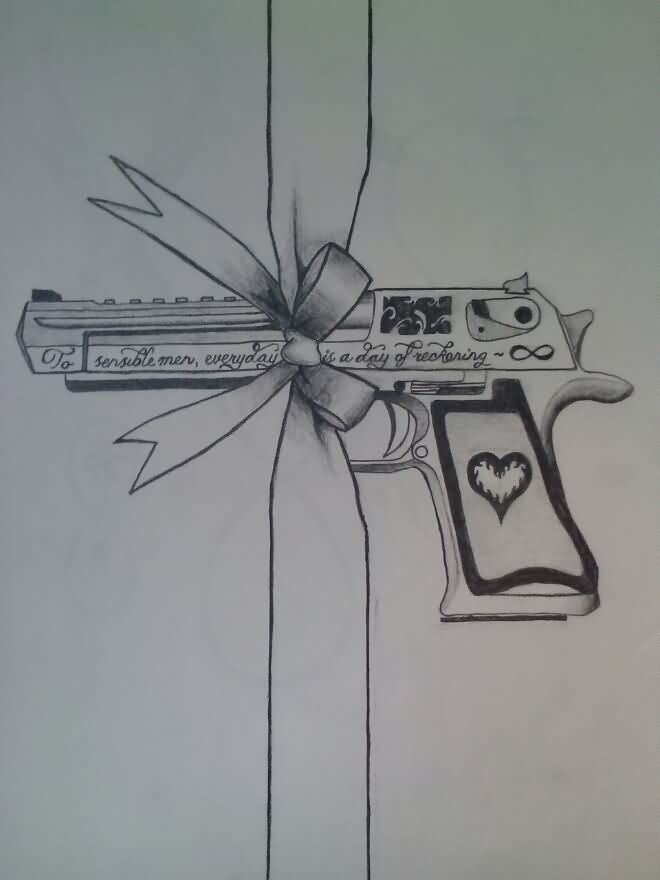 Heart Grip Pistol And Ribbon Bow Tattoo Design
