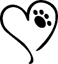 Heart Paw Print Tattoo Stencil