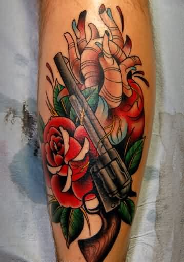 Heart Pistol And Red Rose Tattoos