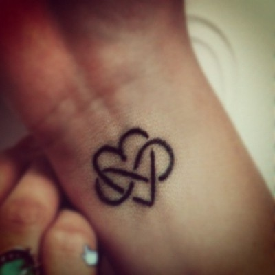 Heart With Infinity Symbol Tattoo On Inner Wrist