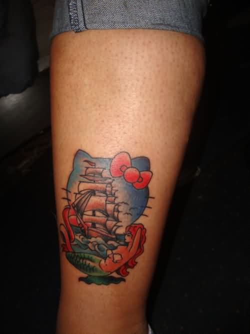 Hello Kitty Nautical Tattoos On Lower Leg