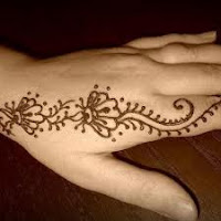 Henna Vine Tattoo On Side Of Hand