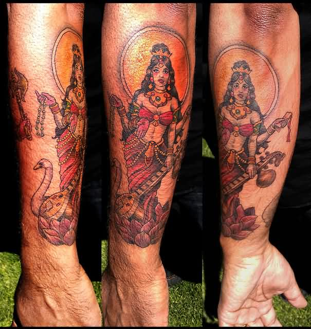 Hindy Goddess Saraswati Tattoos