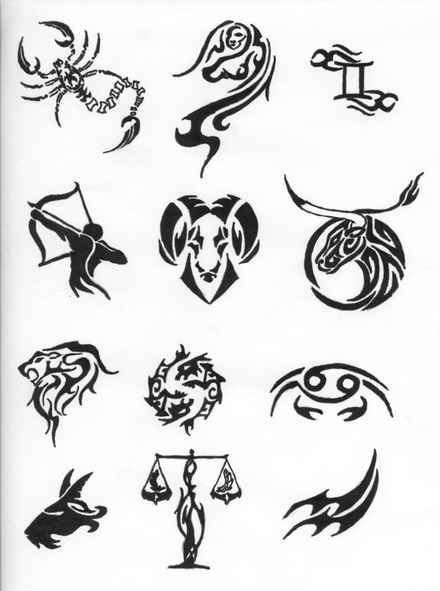 Horoscope Tribal Symbols Tattoo Designs