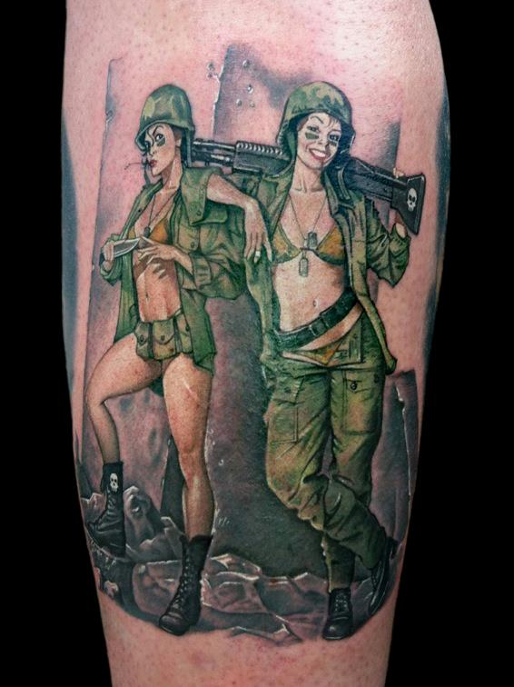 Hot Army Pin Up Girls Tattoos