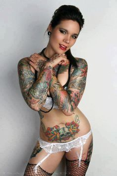Hot Babe With Colorful Tattoos