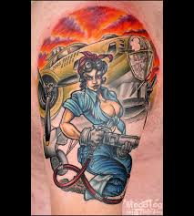 Hot Car Mechanic Pin Up Girl Tattoo