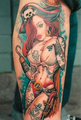 Hot Figure Pirate Pin Up Girl Tattoo