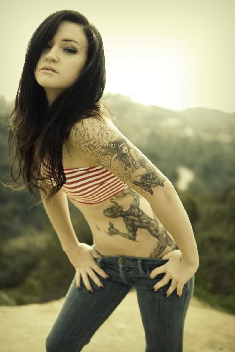 Hot Girl With Pirate Tattoos On Left Arm